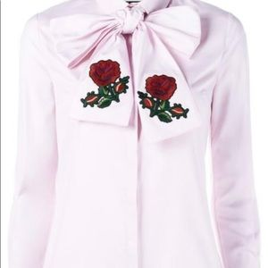Gucci Rose Embroidered Pussybow Shirt